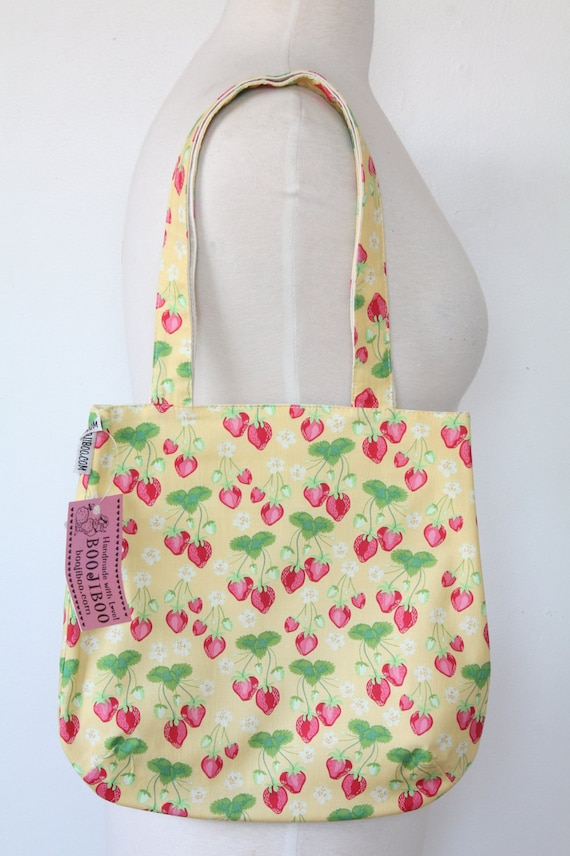 Purse Tote Bag - Sweet Strawberries on Yellow - Rounded Shape