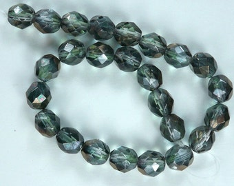 25 Luster-Green Crystal Czech Firepolished Faceted Round Glass Beads 8mm