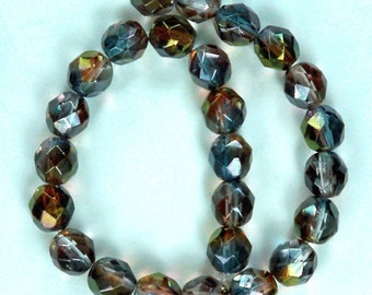 25 Luster -Amethyst/Blue/Crystal Czech Firepolished Faceted Beads 8mm