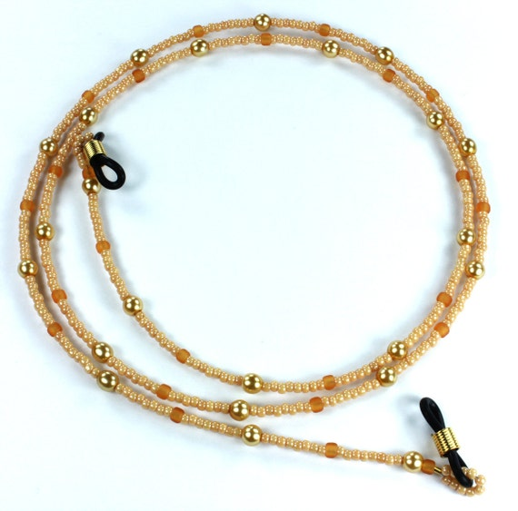 Dark Beige Toho Glass Seed Beads Eyeglass Holder, Chains -Use coupon code LUIGIS10 for 10% off