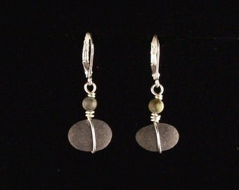 Wrapped Pebble Earrings; Lake Superior Beach Stones; Found Object; Minnesota