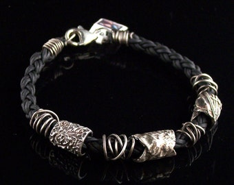 Fine Silver and Leather Bracelet- By CandyceWestfield