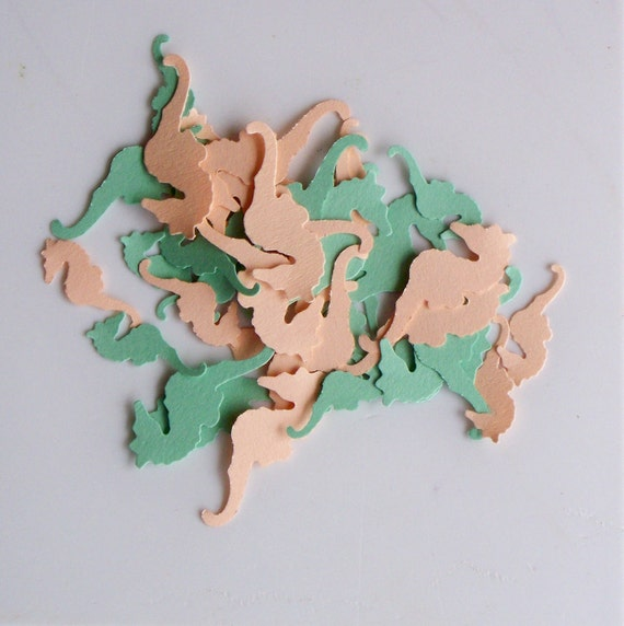 Paper Sea Horses Hand Punched Die Cut Beige and Sea Green