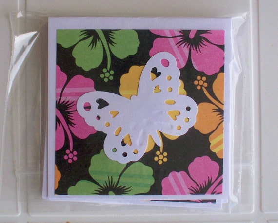 Cards Mini Notes Flowered with Butterfly Any Occasion Set of 6