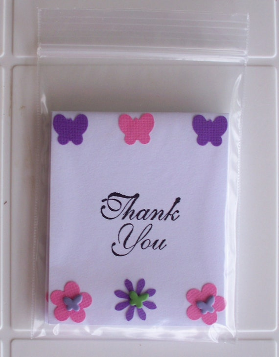 Mini Thank You Notes Pink and Purple Flowers and Butterflies Cards Set of 3
