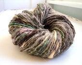 demeter ) sport weight mixed fiber art yarn ( handspun & dyed with yellows, purples, greens, grey