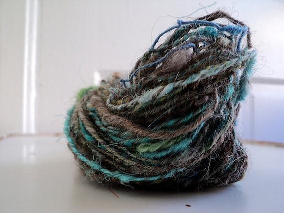 Promethium ) handspun & handdyed art yarn ( blue, green and gray textured singles