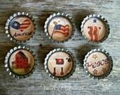 Bottle Cap Magnets - Americana, Patriotic, Flag, America,Sheep, Peace,  Set of 6