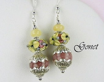 Yellow Jade and Pink Rhodonite Earrings  (Cyprus Gardens)  by Gonet Jewelry Design