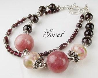 GARNET GEMSTONE BRACELET (Sparkling Burgundy)  by Gonet Jewelry Design