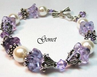 South Sea Shell Pearl and Swarovski Bracelet  (Violet)  by Gonet Jewelry Design