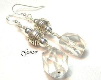Clear Crystal Quartz  (Blizzard) Earrings  by Gonet Jewelry Design