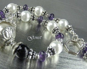Amethyst and Pearl Bracelet (Catherine)  by Gonet Jewelry Design