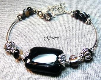 Black Onyx  Bangle Bracelet  (Midnight Velvet Collection) by Gonet Jewelry Design