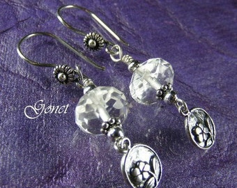 Clear Crystal Quartz Earrings  (April Showers)  by Gonet Jewelry Design