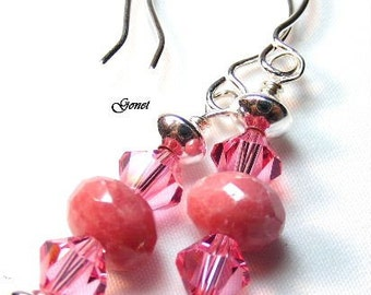 Rhodonite and Swarovski Crystal Earrings  (Tickled)  by Gonet Jewelry Design