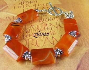 Red Agate Bracelet  (Carmela)  by Gonet Jewelry Design