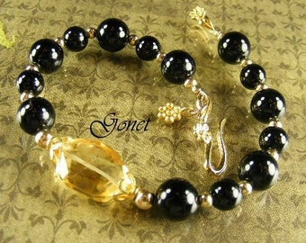 Black Onyx and Citrine Bracelet (Yorokobi)  by Gonet Designs