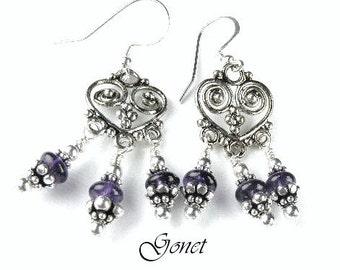 Amethyst Earrings (Anne)  by Gonet Jewelry Design