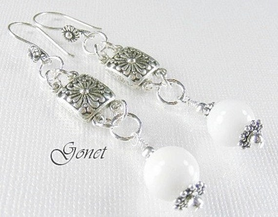 White Agate Fancy Dangle Earrings (Summer Snow) Collection  by Gonet Jewelry Design