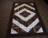 Quilted Brown Log Cabin Table Runner