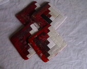 Red Log Cabin Quilted Coasters