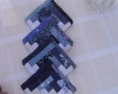 Quilted Blue Coasters-free shipping