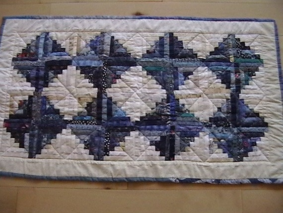 Quilted Blue Log Cabin Table Runner