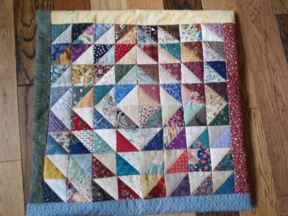Quilted Scrappy Triangles Pillow Cover