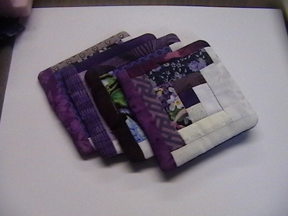 Quilted Purple Coasters Free Shipping