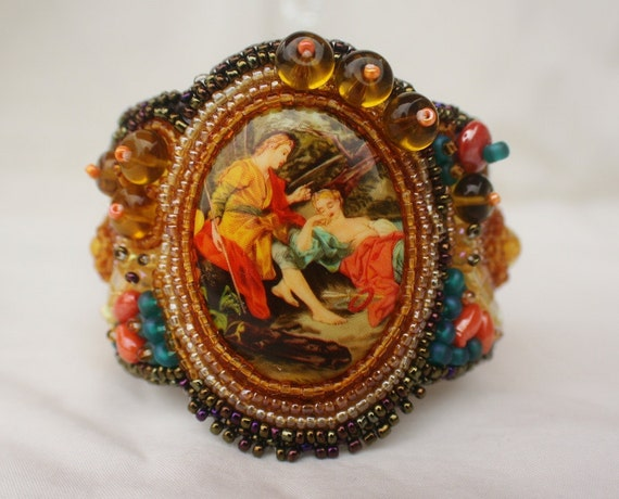 Medieval Lovers Bead Embroidered Cuff Bracelet