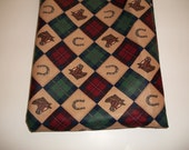 Equestrian Horse Plaid Navy Green Red - 58 Inches