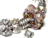 Mauve and Pale Green Beaded Jewel Drops fits Pandora and Troll