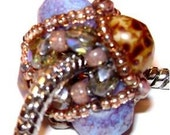 Robin's Egg Blue and Brown Speckled Beaded Jewel Drops fits Pandora and Troll