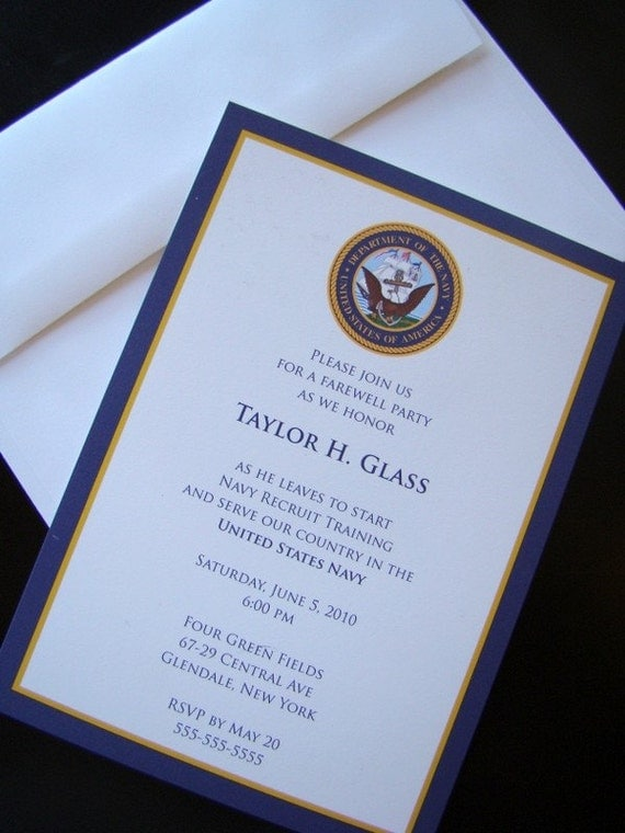 Items similar to Joining Navy Farewell Party military – Invitations for Going Away Party