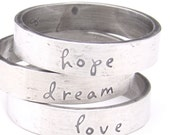 Sterling Silver Word Inspiration Band Ring, Your Choice