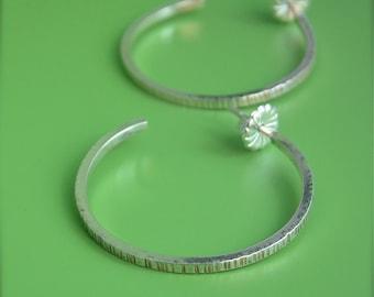 Zen Medium Sterling Hoops Simple Hammered Textured Lines Silver Post