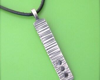 Zen Black Diamond Bar Sterling Pendant Modern Rectangle Rustic Simple Leather Cord