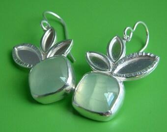 Leaves Green Prehenite Sterling Silver Earrings Zen