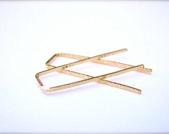 Gold Filled Zen Staple Earrings