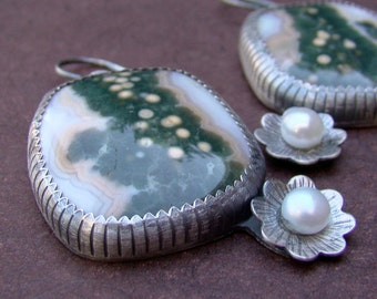 Sterling Silver Ocean Jasper and Pearl Earrings