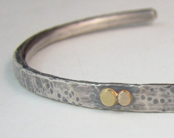 Sterling Silver Rustic Cuff with Gold Accents, Rose Gold, Yellow Gold,  Forged Hammered, Mens Bracelet Unisex Cuff