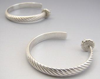 Sterling Hoops Diagonal Pattern Earrings