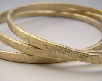 Urban Rustic Gold Forged Bangles 14 Karat Yellow Gold Solid Hammered Bracelet Trio