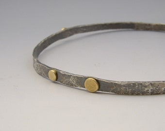 Urban Rustic Sterling Silver and Gold Forged Bangle Solid Hammered Bracelet Mixed Metal