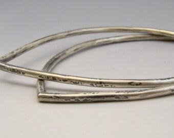 Urban Rustic Lotus Petal Silver Forged Bangle Sterling Silver Solid Hammered Bracelet