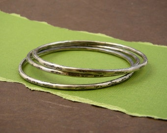 Urban Rustic Sterling Silver Forged Bangle Trio Set Sterling Silver Solid Hammered Bracelets