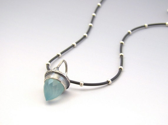 Sea Foam Green Sterling Silver Bullet Chalcedony Charm on Rubber Bead Necklace Mint Drop Modern Hammered