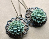 Sage green chrysanthemum flower and copper long drop earrings - extra long earring wire