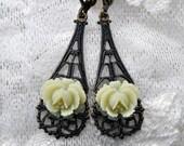 Fresh Lemonade Sorbet Rose dangle earrings with dark antiqued brass filigrees, leverback earwires - non allergy